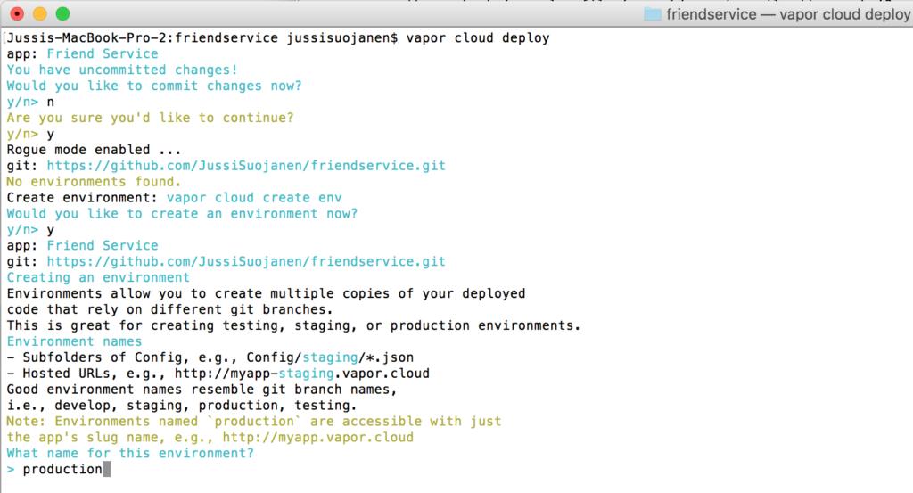 Vapor cloud deploy to production
