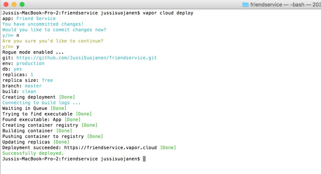 vapor cloud deployment complete