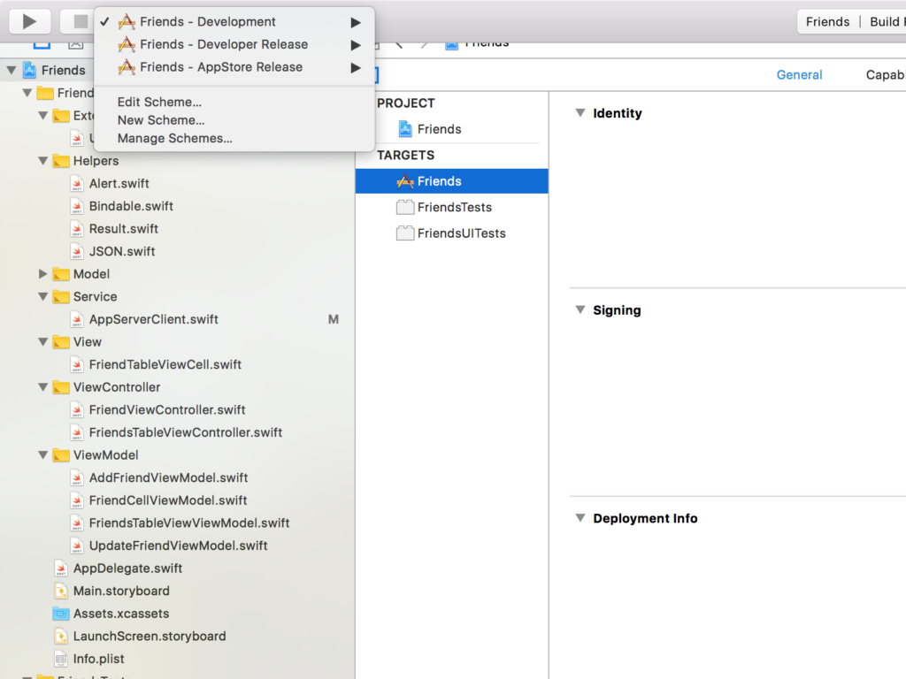 iOS development tools checklist - schemes for a project