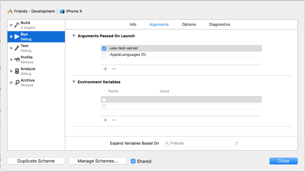 iOS development tools checklist - define launch arguments to help selection between production and test server